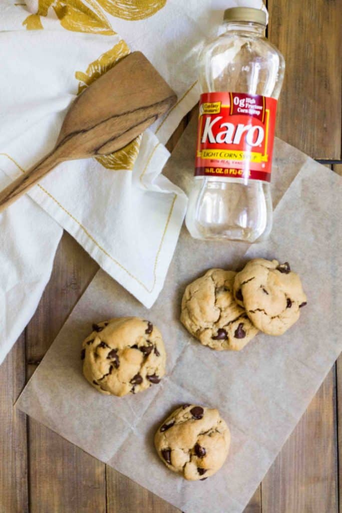 Chewy Peanut Butter Chocolate Chip Cookies made with Karo® Corn Syrup