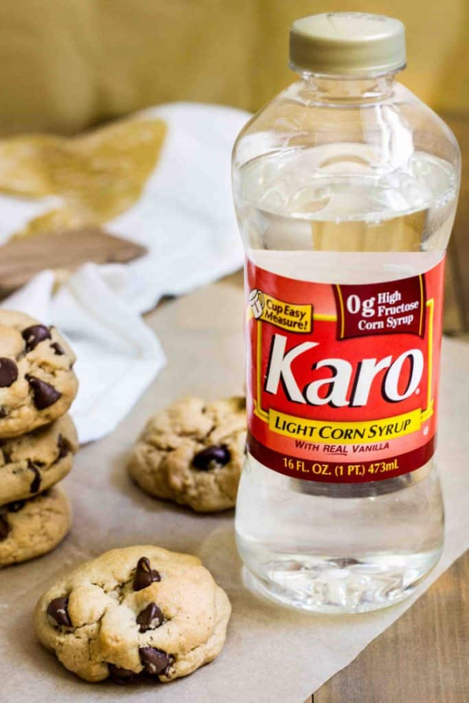 Chewy Peanut Butter Chocolate Chip Cookie made extra chewy with Karo® Corn Syrup